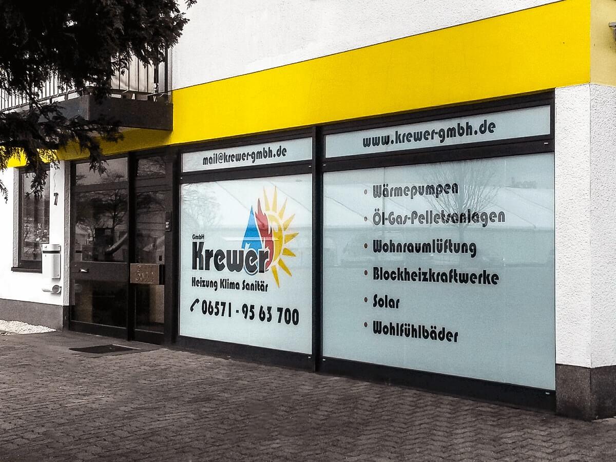 Krewer GmbH - Schaufensterbeschriftung