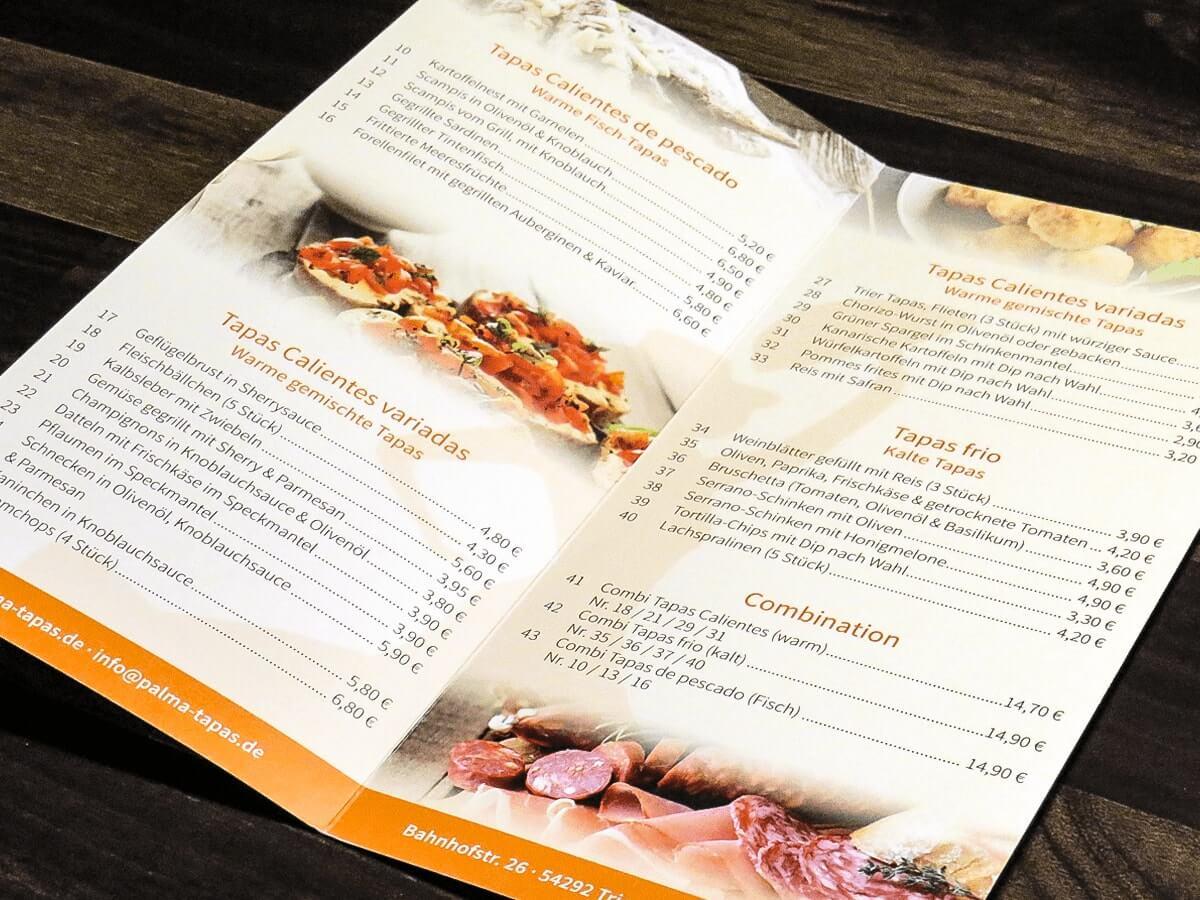 Palma Tapas - Speise- und Getränkekarten