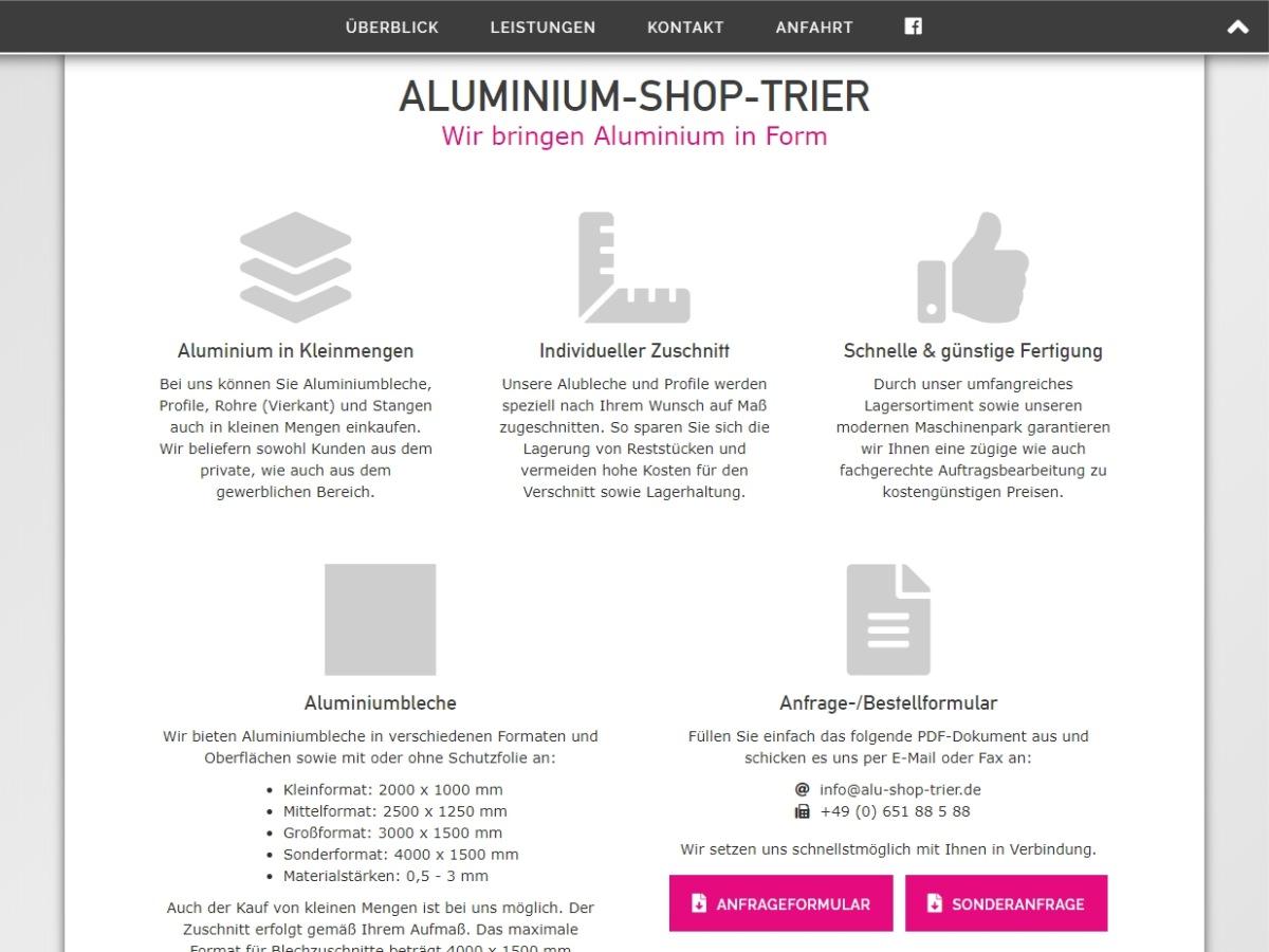 Alu-Shop-Trier // Onepager